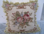 French Floral Needlepoint woolen cushion, handmade pillow 15K New Zealand Wool, 16